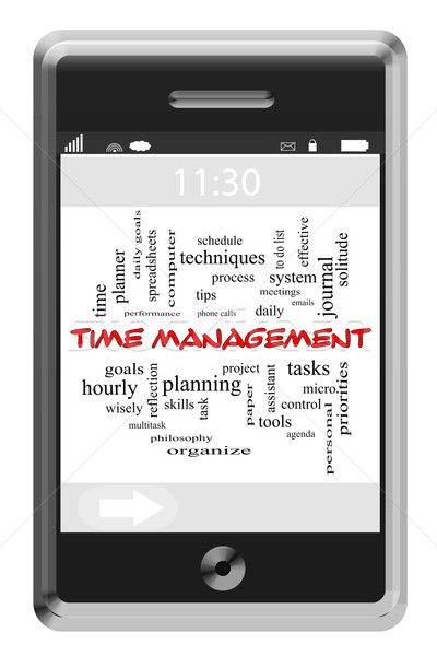 Time Management Word Cloud Concept on Touchscreen Phone Stock photo © mybaitshop