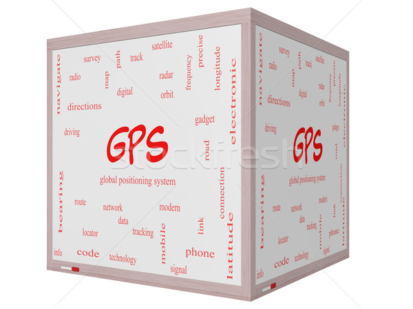 GPS Word Cloud Concept on a 3D cube Whiteboard Stock photo © mybaitshop