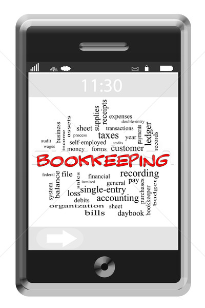 Bookkeeping Word Cloud Concept on Touchscreen Phone Stock photo © mybaitshop