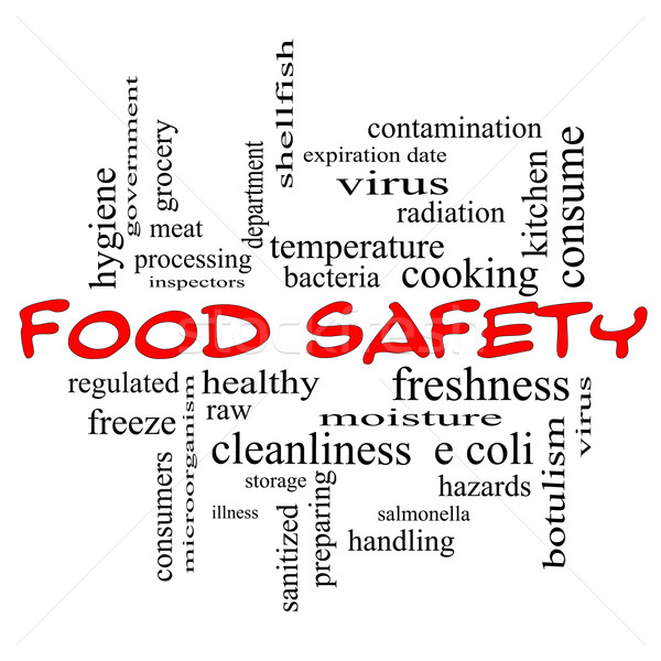 Food Safety Word Cloud Concept in red caps Stock photo © mybaitshop