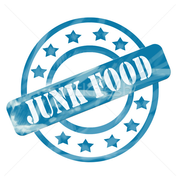 Blue Weathered Junk Food Stamp Circles and Stars Stock photo © mybaitshop