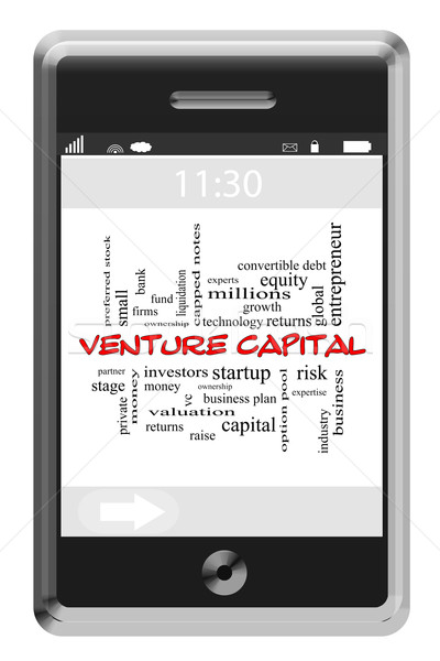 Venture Capital Word Cloud Concept on Touchscreen Phone Stock photo © mybaitshop