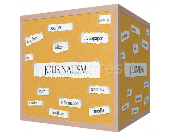 Journalsim 3D cube Corkboard Word Concept Stock photo © mybaitshop