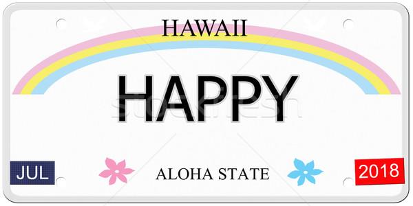 Gelukkig Hawaii kentekenplaat geschreven imitatie aloha Stockfoto © mybaitshop
