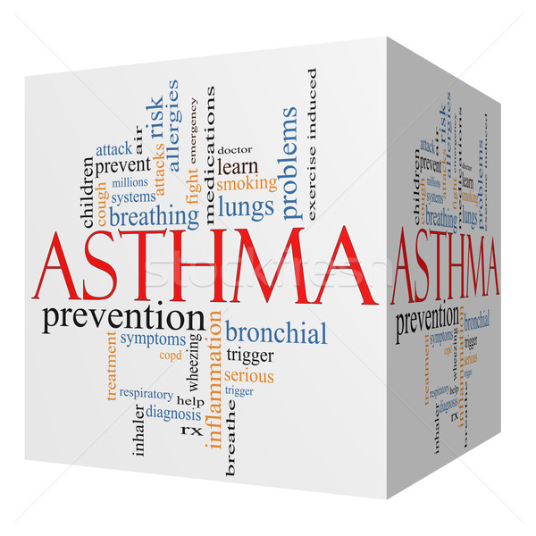 Stock photo: Asthma 3D cube Word Cloud Concept