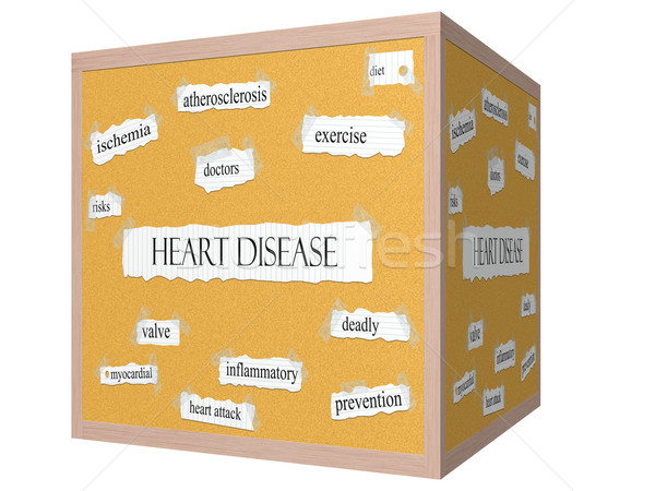Heart Disease 3D cube Corkboard Word Concept Stock photo © mybaitshop