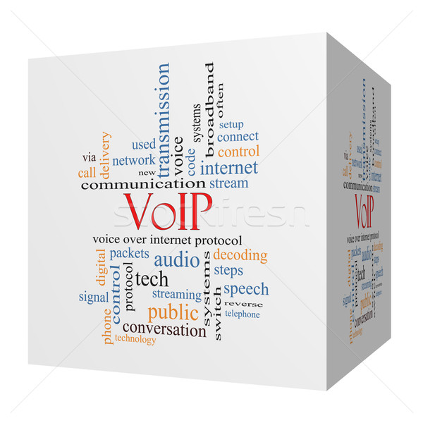 VOIP 3D cube Word Cloud Concept Stock photo © mybaitshop