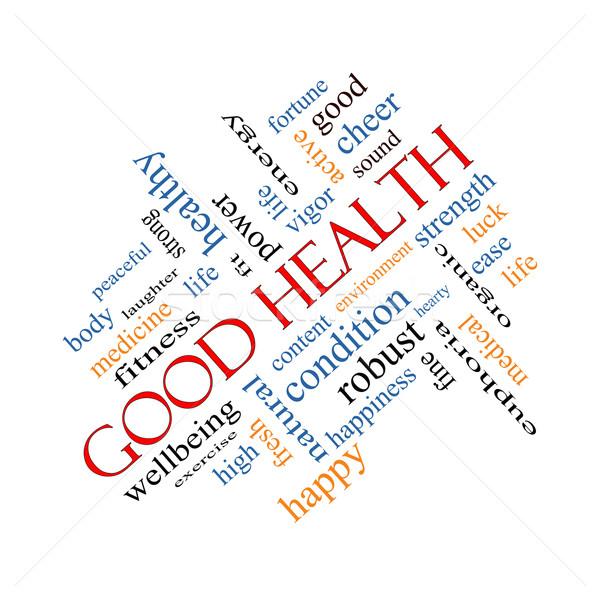 Good Health Word Cloud Concept Angled Stock photo © mybaitshop