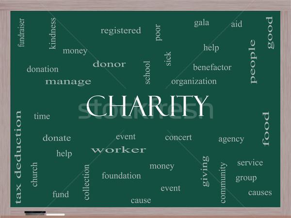 благотворительность слово облако доске жертвовать время Сток-фото © mybaitshop
