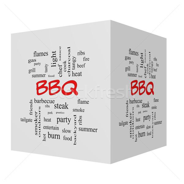 Stock fotó: BBQ · 3D · kocka · szófelhő · piros · nagyszerű