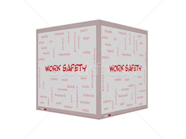 Work Safety Word Cloud Concept on a 3D Whiteboard Stock photo © mybaitshop