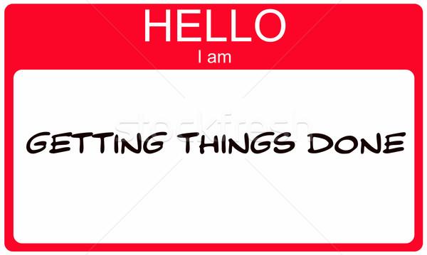 Merhaba işler kırmızı etiket Stok fotoğraf © mybaitshop