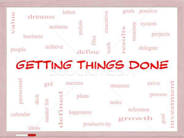 Getting Things Done Word Cloud Concept on a Whiteboard Stock photo © mybaitshop