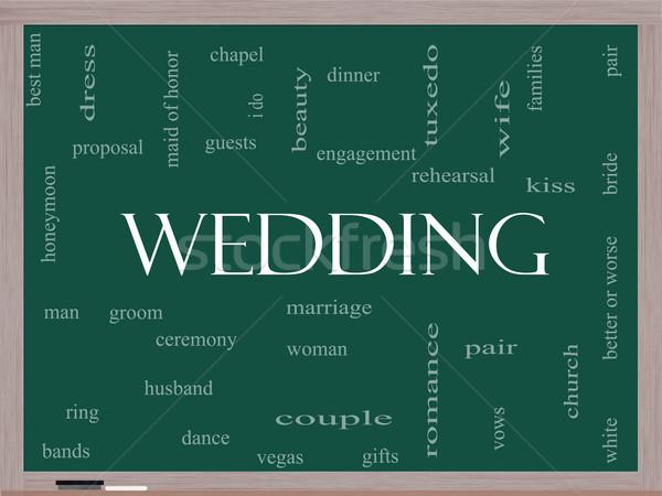 Zdjęcia stock: ślub · chmura · słowo · tablicy · sukienka · para