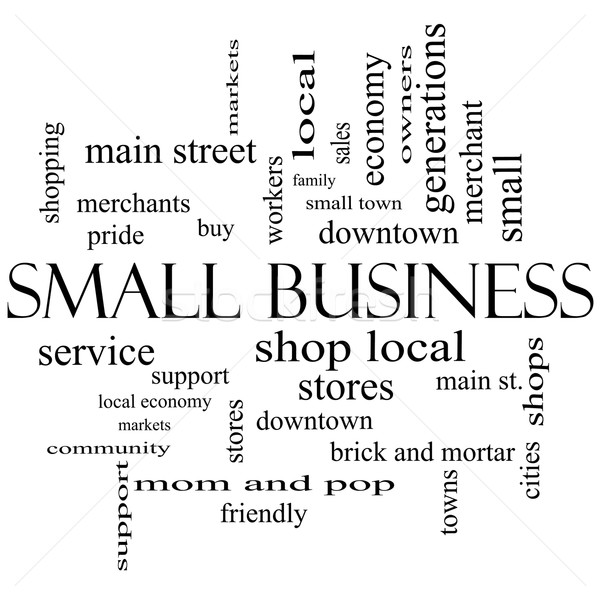 Small Business Word Cloud Concept in black and white Stock photo © mybaitshop