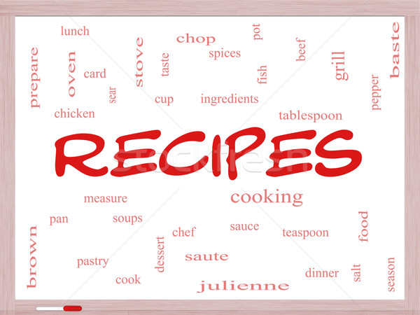 Recipes Word Cloud Concept on a Whiteboard Stock photo © mybaitshop
