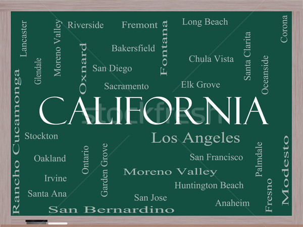 California State Word Cloud Concept on a Blackboard Stock photo © mybaitshop