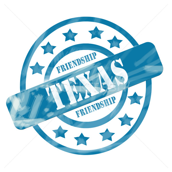 Blue Weathered Texas Stamp Circles and Stars Stock photo © mybaitshop
