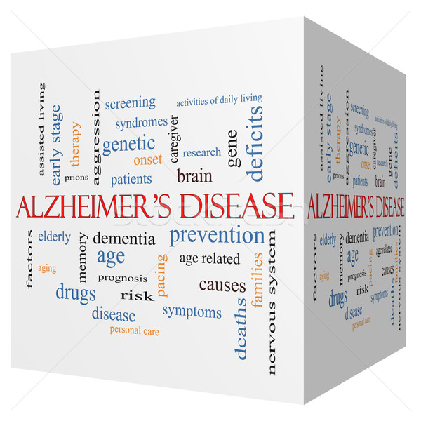 Alzheimer's Disease 3D cube Word Cloud Concept Stock photo © mybaitshop