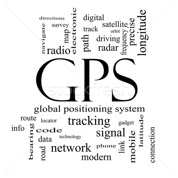 GPS Word Cloud Concept in black and white Stock photo © mybaitshop