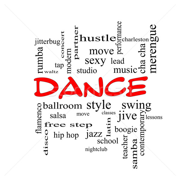 Dance Word Cloud Concept in red caps Stock photo © mybaitshop