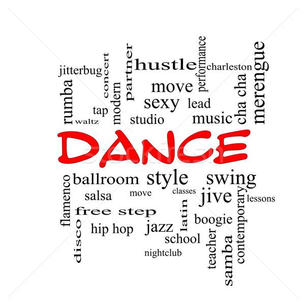 Dance chmura słowo czerwony muzyki sala balowa Zdjęcia stock © mybaitshop