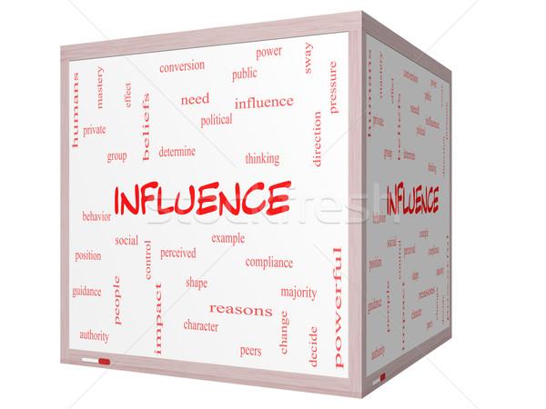Beïnvloeden woordwolk 3D kubus groot Stockfoto © mybaitshop