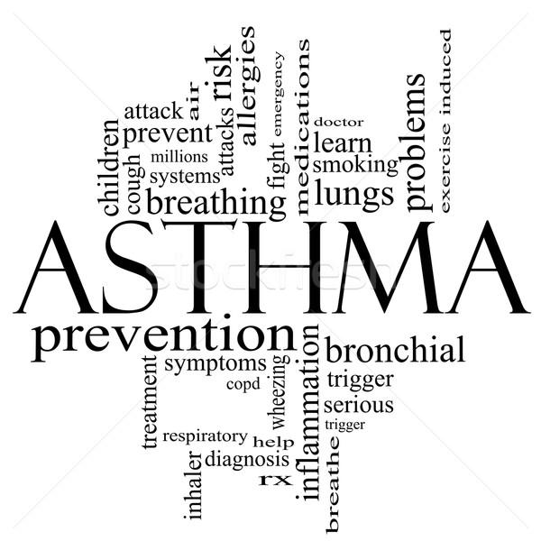 астма слово облако черно белые дыхание врач Сток-фото © mybaitshop