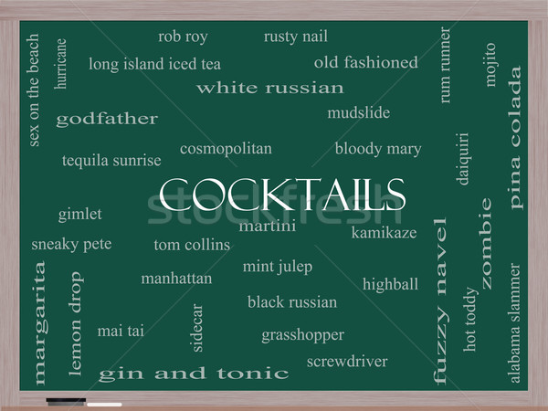 Stok fotoğraf: Kokteyller · kelime · bulutu · tahta · muhteşem · Martini · plaj