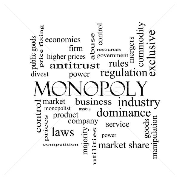 Monopole nuage de mots blanc noir magnifique affaires industrie Photo stock © mybaitshop