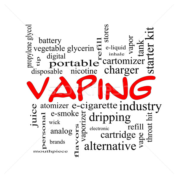 Vaping Word Cloud Concept in red caps Stock photo © mybaitshop