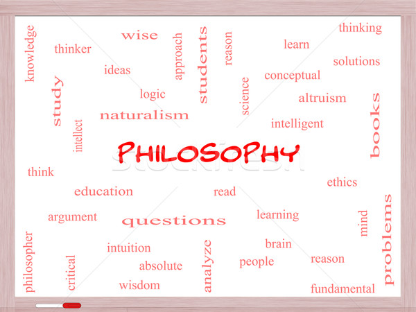 Philosophy Word Cloud Concept on a Whiteboard Stock photo © mybaitshop
