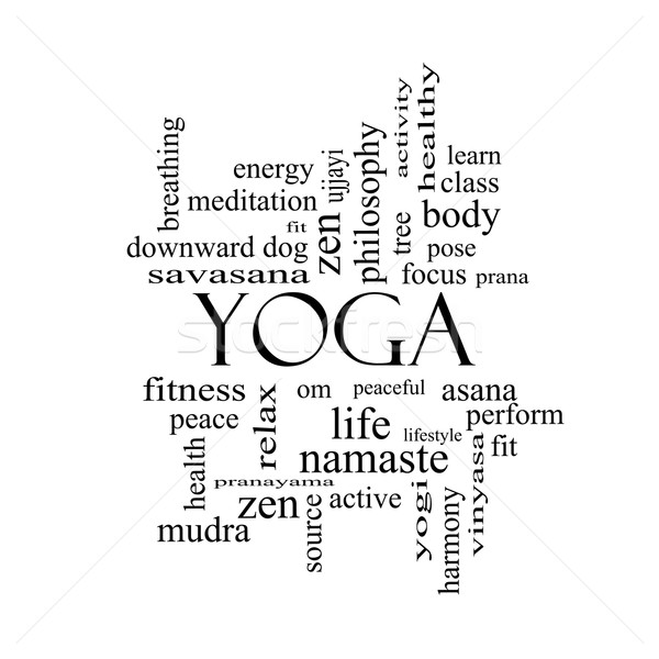 Yoga Word Cloud Concept in black and white Stock photo © mybaitshop
