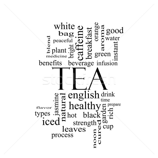Tea Word Cloud Concept in black and white Stock photo © mybaitshop