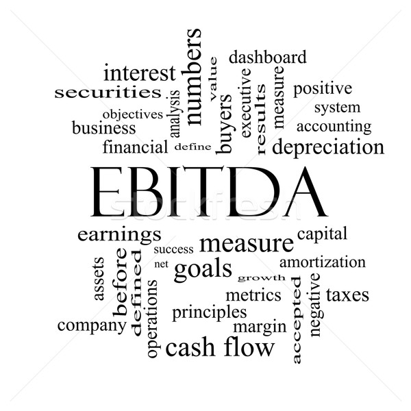 EBITDA Word Cloud Black and White Concept Stock photo © mybaitshop