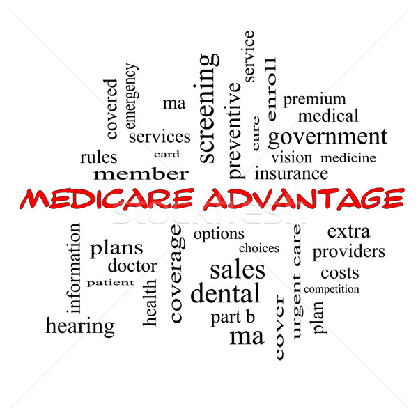 Medicare Advantage Word Cloud Concept in red caps Stock photo © mybaitshop