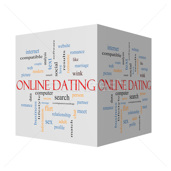 Online Dating 3D cube Cloud Concept  Stock photo © mybaitshop
