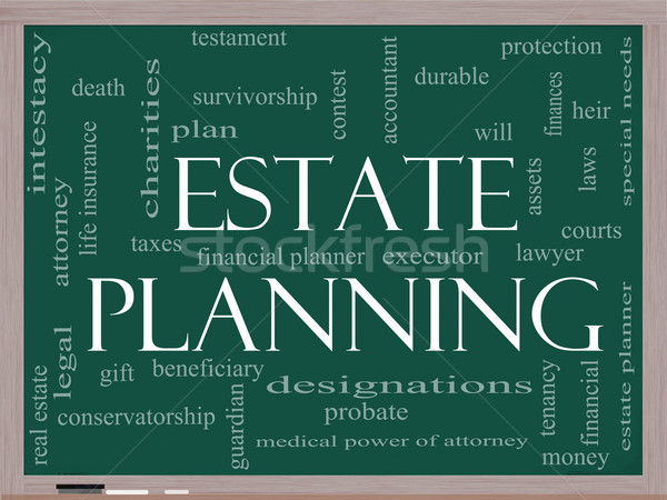 Estate Planning Word Cloud Concept on a Blackboard Stock photo © mybaitshop