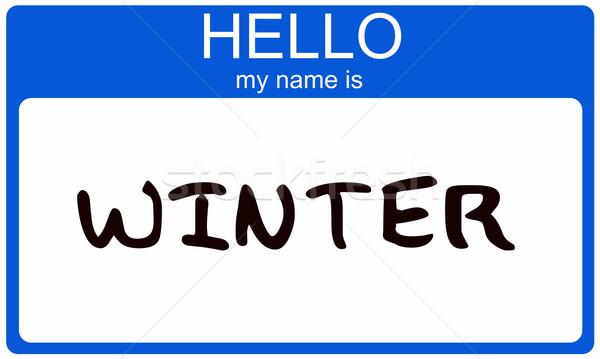 Tél névtábla hello enyém név matrica Stock fotó © mybaitshop