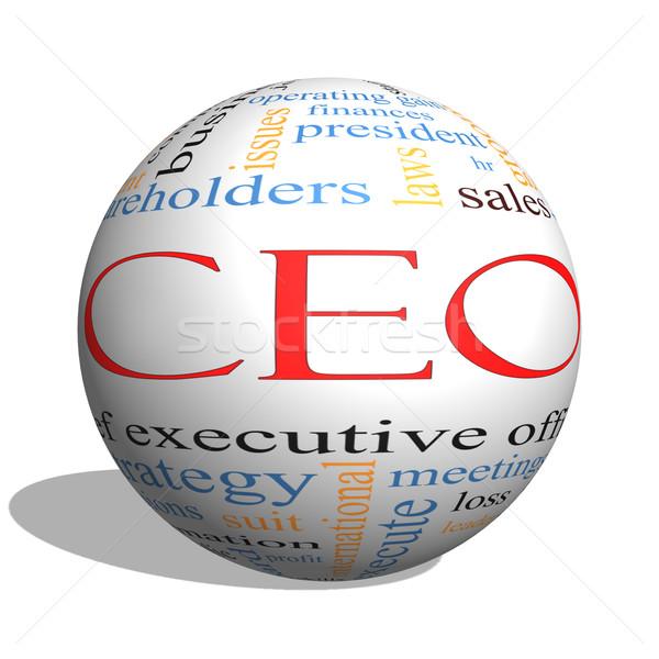 Stock fotó: Igazgató · szófelhő · 3D · gömb · nagyszerű · vezető