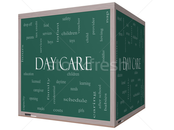 Day Care Word Cloud Concept on a on a 3D Cube Blackboard Stock photo © mybaitshop