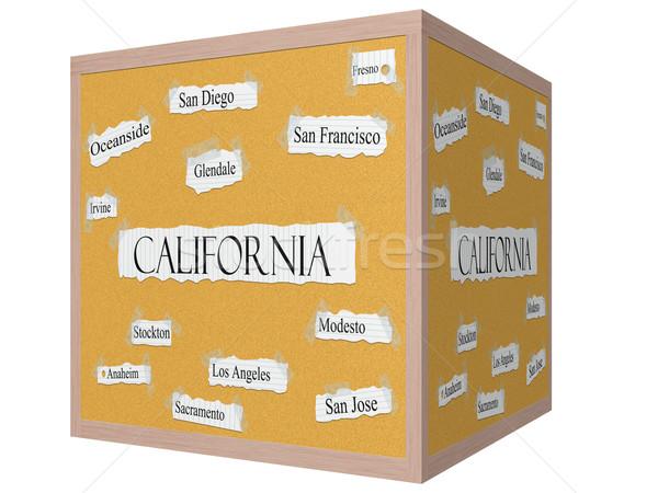 California State 3D cube Corkboard Word Concept Stock photo © mybaitshop