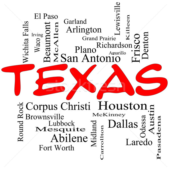 Texas State Word Cloud Concept in red caps Stock photo © mybaitshop