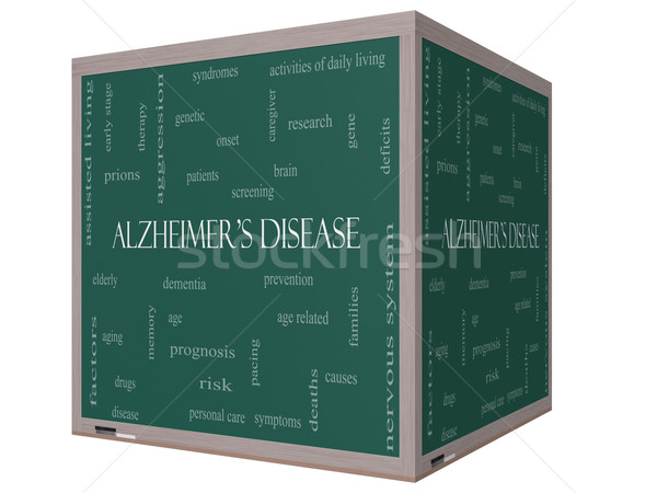 Alzheimer's Disease Word Cloud Concept on a 3D cube Blackboard Stock photo © mybaitshop