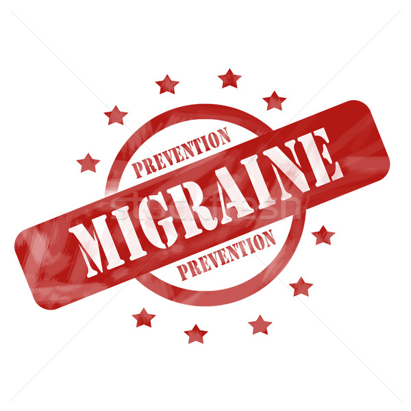 Red Weathered Migraine Prevention Stamp Circle and Stars design Stock photo © mybaitshop