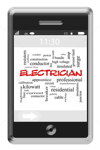Electrician Word Cloud Concept on Touchscreen Phone Stock photo © mybaitshop