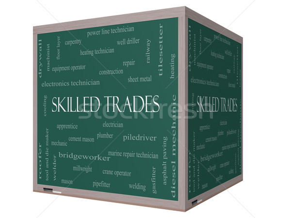 Skilled Trades Word Cloud Concept on a 3D cube Blackboard Stock photo © mybaitshop