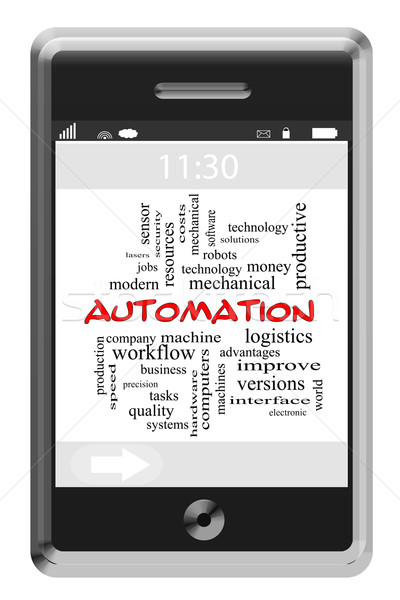 Automation Word Cloud Concept on Touchscreen Phone Stock photo © mybaitshop