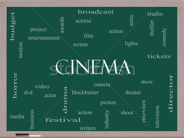 Sinema kelime bulutu tahta muhteşem kamera film Stok fotoğraf © mybaitshop