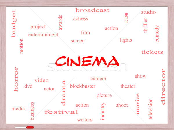 Cinema Word Cloud Concept on a Whiteboard Stock photo © mybaitshop